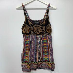 Angie Boho Tribal Printed Embellished Tunic Top M